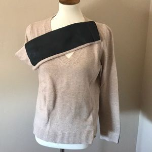J Crew cashmere blend leather arm v neck sweater